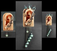 Copper, Aventurine and New Jade Ear Cuff/Ear Wrap by sylva