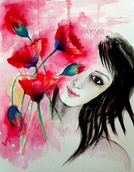 Girl With Flowers by Sayani29