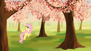 Fluttershy in a cherry garden by tgolyi