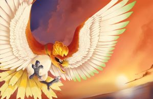 SUNSET BIRD HO-OH by blazegryph