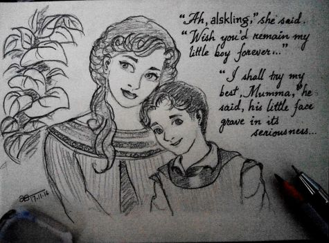 Frigga and little Loki by Adititwh