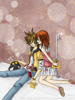 KH2 :: Sora and Kairi by sleepingcloud11