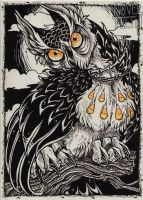 Day 8 of Inktober: Owl of the Hallow by novelteeth