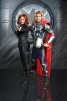 Avengers Black Widow and Asgardian, THOR by captainjaze