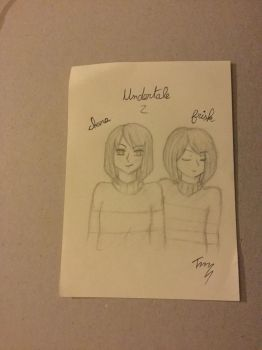 Frisk and Chara sketch [Undertale] by Hemena