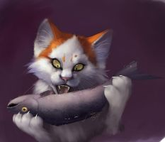 Cat and fish by Orphen-Sirius