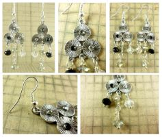 Silver Clear, Grey, and Black Crystal Earrings by DryGulchJewelry