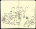 An experiment in line, drawing bicycles on the tra by MattiasA