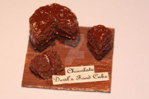 1:12 Scale Set Chocolate Devil's Food Cake! by ClayConfectionary