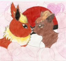 vulpix and flareon by gaara-lover-9
