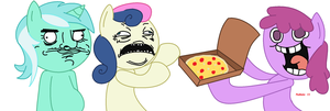 lyra and bon bon gusta pizza by Mallinda