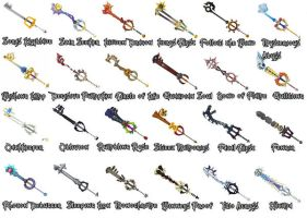 Kingdom Hearts 2 Keyblades by WeapondesignerDawe