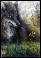 Wolf and flower by Lupuna