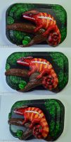 Polymer Clay Panther Chameleon on Wood Plate by CustomExotics