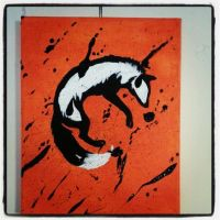 Splatter Fox canvas by TaksArt