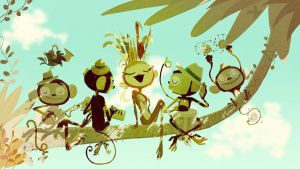 Monkeys on a branch by PascalCampion