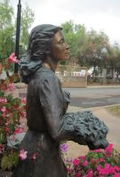 Statue Stock with Flowers by chamberstock