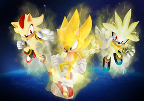 Super Sonic, Shadow,and Silver by SonikkuForever