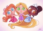 Chibies Giselle,Rapunzel,Tiana by princekido
