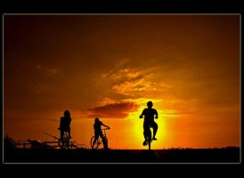 Three On Bicycle by hamkahatta