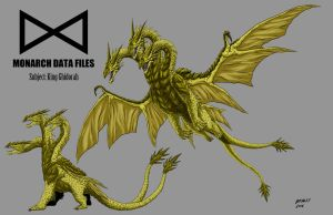 Kaiju Commissions: Monarch Files: King Ghidorah by Bracey100