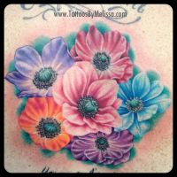 Realistic Anemone Flowers Tattoo by Melissa-Capo