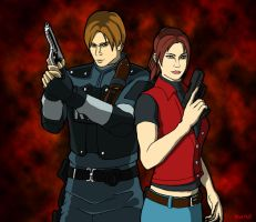 Leon and Claire by Nick-McD