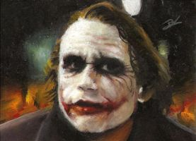 Joker sketch card in oil by Ethrendil