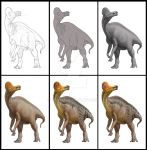 Corythosaurus creation process by atrox1