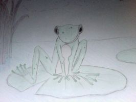 frog on a lily pad by pluie3et3grenouille