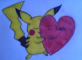 Pikachu with  heart by AndreaWeasley