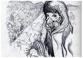 Gas Mask ::Ink Drawing:: by lavonia