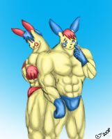 Buff Anthro Plusle and Minun by CaseyLJones