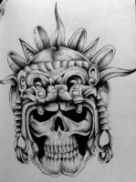 Aztec Skull by Pick1