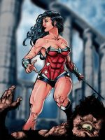 Wonder Woman vs cyclops Colors by Brad Eastburn by eastphoto99