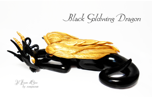 Black Goldwing dragon by rosepeonie