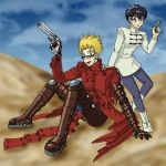Trigun:  Vash and Meryl by mystryl-shada