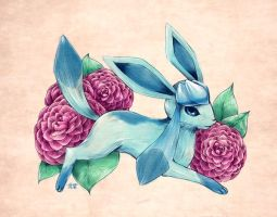Seasons of Eevee - Glaceon and Camellias by juugatsuhoshi