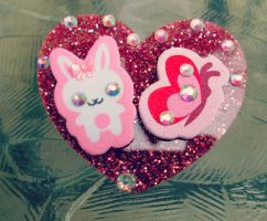 Bunny and Butterfly Heart Pin by Stardom7