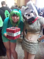 Creeper and Wolf cosplay girls by CharmandersFlame