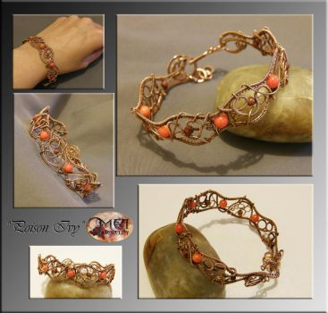Poison Ivy- wire wrapped bracelet by mea00