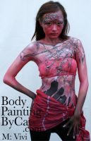 Web witch goth body paint by Bodypaintingbycatdot