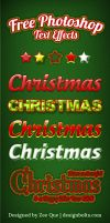 5 Free Beautiful Christmas Photoshop Text Effects by Designbolts