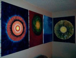 Four of My Paintings In My Living Room by JohnNieckarz
