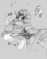 Tengu Juggler Drawing by mmpratt99