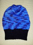 Black and blue slushie hat - COMMISSION by KnitLizzy