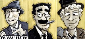 Marx Brothers Sketch Cards by rustythewonderdog