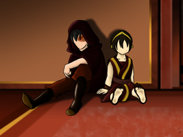 Zuko and Toph by Coppertooth