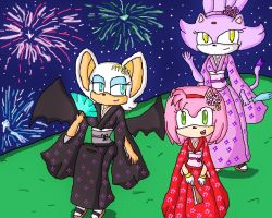 amy, rouge and blaze kimono by ninpeachlover
