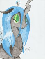 Queen Chrysalis Hoof-drawed Portrait by D-SixZey